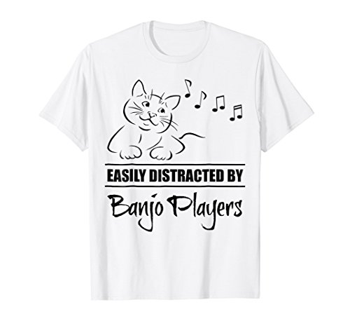Curious Cat Easily Distracted by Banjo Players T-Shirt