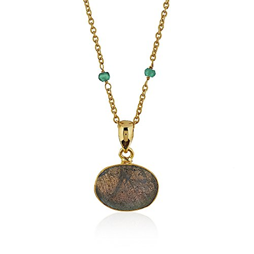 18K Gold-Plated Large Oval Labradorite Gemstone Pendant Necklace, 18 inches (18k Large Oval Gemstone)