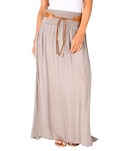 Krisp Tie Belted Maxi Skirt (Taupe, ()