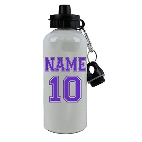 Personalized Custom Soccer, Football, Baseball, Softball Jersey - Add Your Name/Number Aluminum White Finish 20 Ounce 600ML Sport Water Bottle, 2 Lids Customizable (Purple)