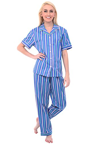 (Alexander Del Rossa Womens Woven Cotton Pajama Set with Pants, Button Down Pjs, Small Pink Green Stripes on Blue, Piping (A0518N47SM))