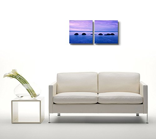 Tranquil Peaceful View at Sunset on The Sea Wall Decor ation x 2 Panels