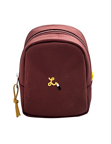 iSuperb Mini Portable Cosmetic Bag Waterproof Storage Bag Small Carrying Case Travel Makeup Organizer Bag for Women Ladies 3.1x1.9x4.3inch (Wine Red) …