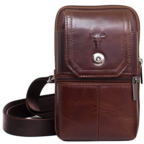 Waist Pack Travel Leather Messenger Bag Cellphone Phone Cases Pouch Holsters (92691 BROWN) - Classic Wallet Travel Leather