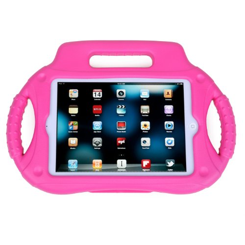 HDE Case for iPad Mini 1 2 3 Kids Shock Proof Steering Wheel Protective Cover with Stand for Apple iPad Mini/Mini 2 / Mini 3 / Retina (Hot Pink)
