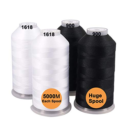 Embroidery Spools Polyester (New brothreads -25 Options- Various Assorted Color Packs of Polyester Embroidery Machine Thread Huge Spool 5000M for All Embroidery Machines - 2Black+2White)