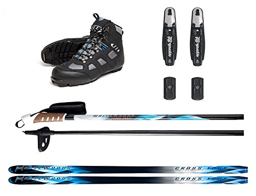 Whitewoods New Adult NNN Nordic Cross Country Ski Package Skis Binding Boots Poles 207cm, 180lbs.+ (42) by Whitewoods