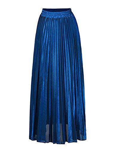 Tanming Womens Spring Summer High Waist Metallic Shiny Shimmer Pleated Maxi Skirt (Blue, Medium) ()
