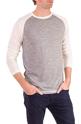 Woolly Clothing Men's Merino Wool Long Sleeve Baseball Shirt - Everyday Weight - Breathable Anti-Odor - L LIN Gry