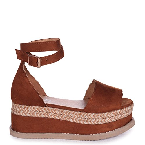 Linzi Sierra - Tan Suede Covered Flatform with Double Ankle Strap & Plait Trim Tan wnjARg