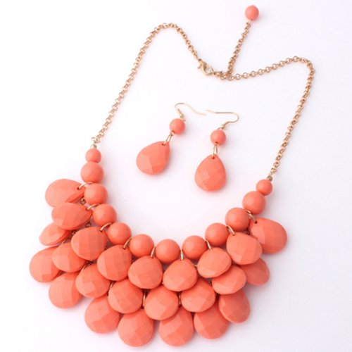 Eyourlife Three Layers Drop Necklace & Earring Set- Choker Bib Necklace Pendant Coral (Red Coral Necklace Earrings)
