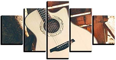 CYZSH Lienzo Arte De La Pared HD Imprime Fotos Decoración para El Hogar Sala De Estar 5 Unidades Vintage Guitarra Acústica Cuerdas Pinturas Cartel De La Música Modular