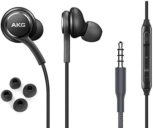 OEM ElloGear Earbuds Stereo Headphones for Samsung Galaxy S10 S10e Plus Cable - Designed via AKG - with Microphone and Volume Buttons (Black)