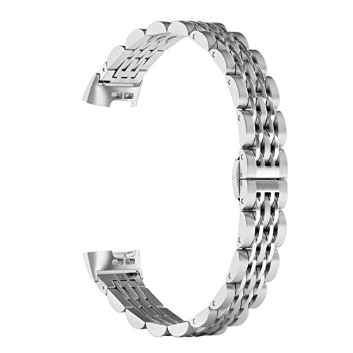 ImmSss Metal Replacement Bands Compatible for Fitbit Charge 3 and Charge 3 SE Fitness Activity Tracker, Stainless Steel Jewelry Bracelet Strap for Women Men (Silver) (Triple Folding Clasp)