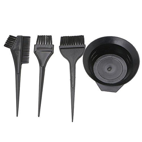 Thobu 4 Pcs Hairdressing Brushes Bowl Combo Salon Hair Color Dye Tint Tool Set Kit Black