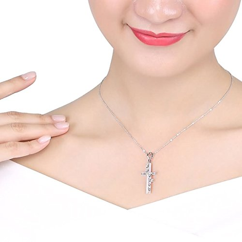 Beydodo Women Necklace,18k Real White Gold 2.44g Cross ''Love Forever'' Round Brilliant Diamond Necklace by  (Image #3)