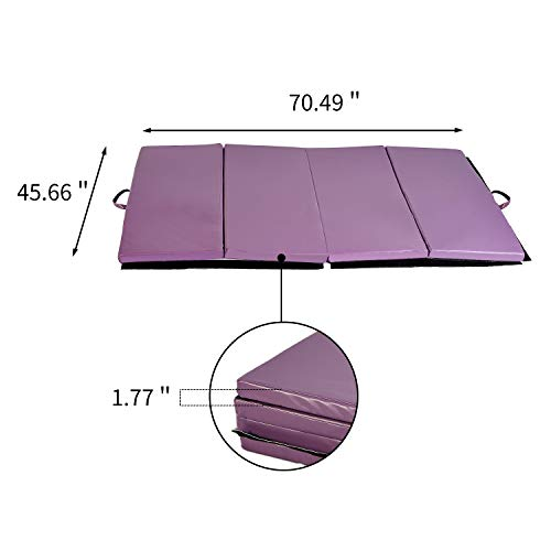 Outdoor Basic 4'x6'x2 Folding Gymnastics Exercise Mats Thick Panel for Gym Fitness Purple