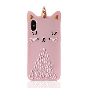 Sevenpanda Mignon étui Pour Iphone X Silicone Animal Chat Licorne Dessin Animé Adorable 3d Conception Cas Drôle Antichoc Et Protecteur Couverture