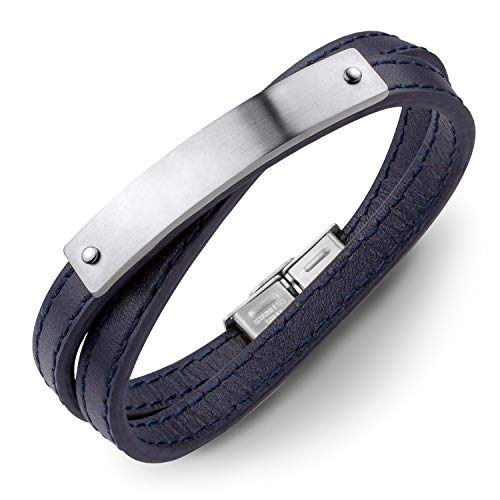 555Jewelry Leather Mens Womens Unisex Double Wrap Wraparound Tongue Clasp Buckle Classic Fashion Jewelry Accessory Band Bangle Bracelet, Blue & Silver 8 Inch