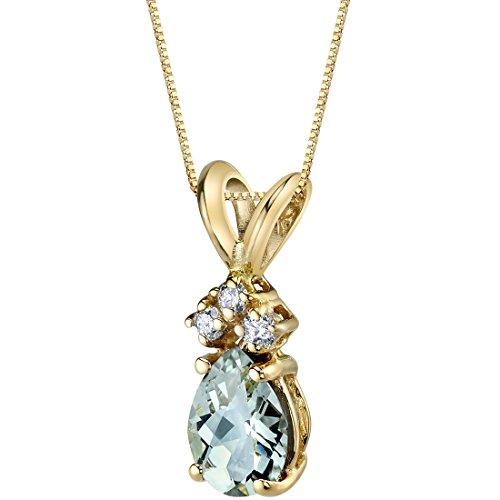 14 Karat Yellow Gold Pear Shape 0.50 Carats Green Amethyst Diamond Pendant