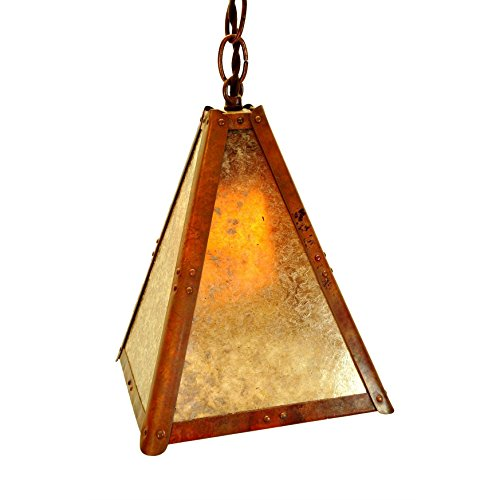 Walnut Finish Pendants - Copper and Mica Tall Slender Pendant Craftsman Mission Bungalow