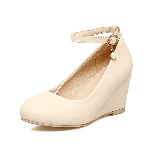 Odetina Women's Apricot Mid Wedge Heel Pumps Buckle Ankle Strap with Pearl 8 M US