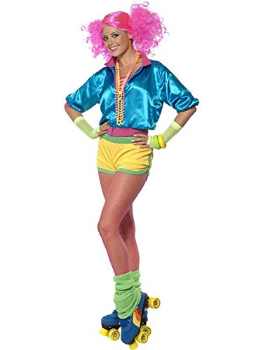 Smiffy's Women's Skater Girl Costume Neon with Top Shorts and Tube Top, Multi, (Roller Girl Fancy Dress Costume)