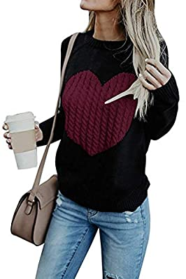 L'ASHER Women's Pullovers Sweater Cute Heart Crew Neck Loose Long Sleeve Knits Sweater