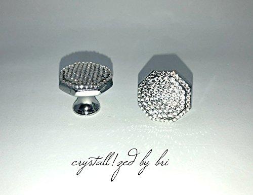 Swarovski Pull Knob - Pair Swarovski CRYSTALLIZED Octagon Cabinet Knobs Polished Chrome Bling Crystals