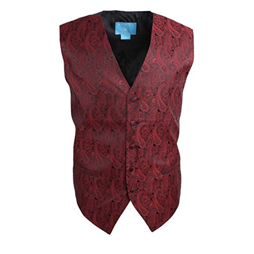 EGC1B02C-XL Red Black Patterned Graduation Bridegrooms Waistcoat Woven Microfiber Birthday Gifts Husband X-Large Vest By Epoint