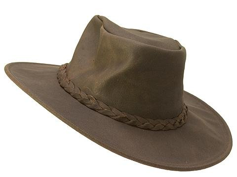(Minnetonka Men's Foldable Leather Hat Dk Brown Large)