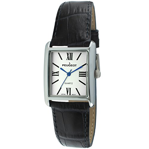 Peugeot Women's Quartz Watch with Leather Calfskin Strap, Black, 16 (Model: ()