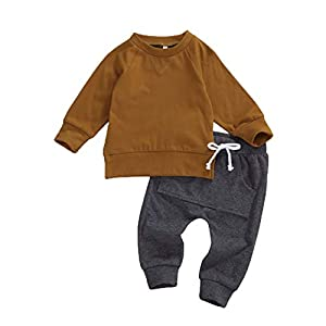 Best Epic Trends 41oWJmaFzZL._SS300_ 2PCS Baby Boy Fall Winter Clothes Outfits Long Sleeve Crewneck Sweatshirt Tops+Drawstring Leggings Pants Set