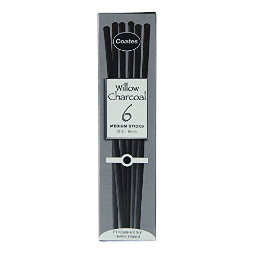 Willow Charcoal Sticks (Coates 6 Medium Willow Charcoal Sticks)