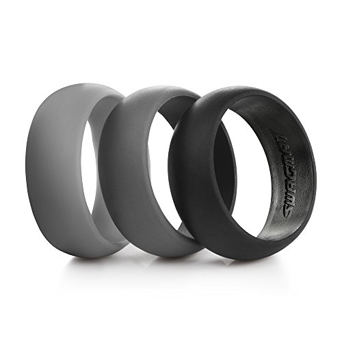 Swagmat Men's Silicone Wedding Ring Bands – 3 Ring Pack ...