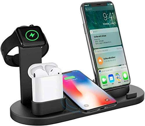 systene 4 in 1 Wireless Charger Charging Stand Docking Station for iPhone, Type-c, Micro USB, Stand for Apple Watch Charging Dock,for AirPods - (Black) (B08B5C7P7T) Amazon Price History, Amazon Price Tracker