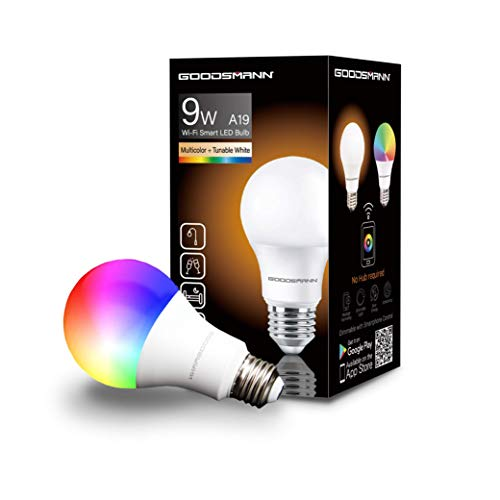 GOODSMANN Smart Led Light Bulbs, A19 RGB Multicolor Tunable Wi-FI Voice Control, Compatible with Amazon Alexa and Google Home, No Hub Required 9910-A19D-C