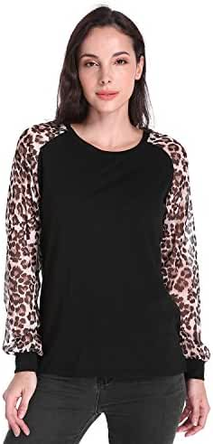 ZANZEA Women's Sexy Leopard Long Sleeve Chiffon Loose Blouse Casual Top Pullover