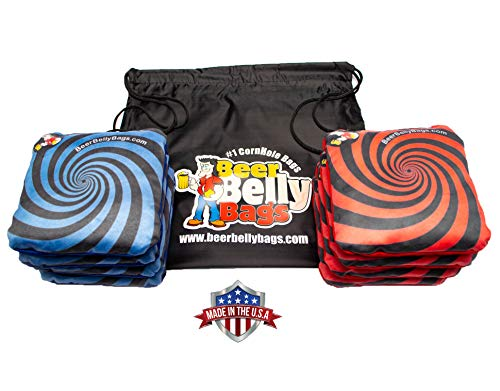 Beer Belly Bags Cornhole - Performance Series 8/pcs ACL Approved Resin Filled - Double Sided - Sticky Side | Slick Side (Red/Blue)