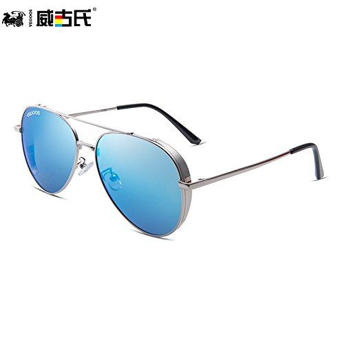 la polarizadas gafas sol gafas Frame nuevas marco gafas de KOMNY de tendencias sol sol personalidad de hombres de Silver de Sky dorado conducción de sol Blue masculina púrpura gafas 1wUXIqznH