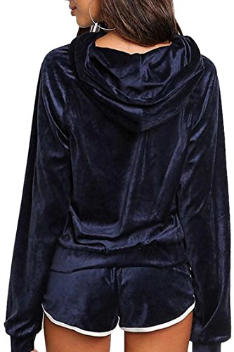 Womens 2PCS Vogue Velvet Long Sleeve Loose Hoodies Gym Sportwear Suit Tracksuits Navy Blue Large by Selowin (Image #1)