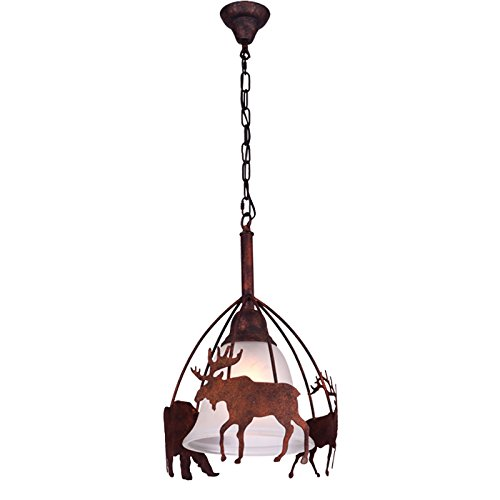 JinYuZe Rustic Moose & Bear Rust Metal Frosted Glass Bell Shaded 1-Light Pendant (Moose 2 Light Pendant)