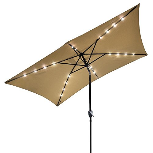 10' x 6.5' Beige Aluminium Rectangle Tilt Patio Umbrella with Solar Powered 20 LEDs by New Leaf by New Leaf