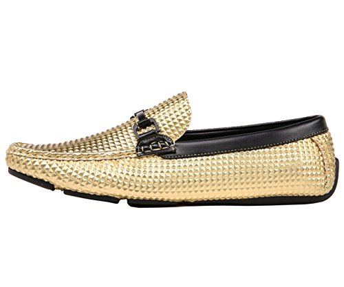 Amali Men's Studded Embossed Driver with Matte Black Buckle, Nightclub Loafer Driving Shoe, Style Mert Gold