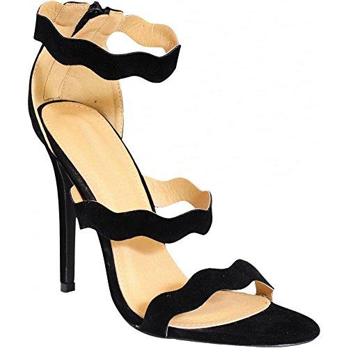 Chaussures à Talons Dames Simili-Suède Noir Lanières Bout Ouvert Talon