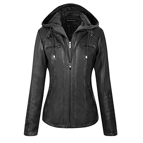 Newbestyle Women Hooded Faux Leather Jacket Hat Detachable Zipper Jacket Women Motorcyle Jacket Black Rivet Leather Jacket