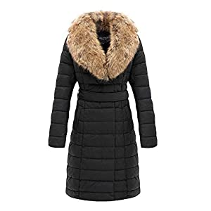 Bellivera Leather Puffer Jacket for Women,Winter Bubble Padding Long Puffer Coats with Detachable Faux Fur Collar