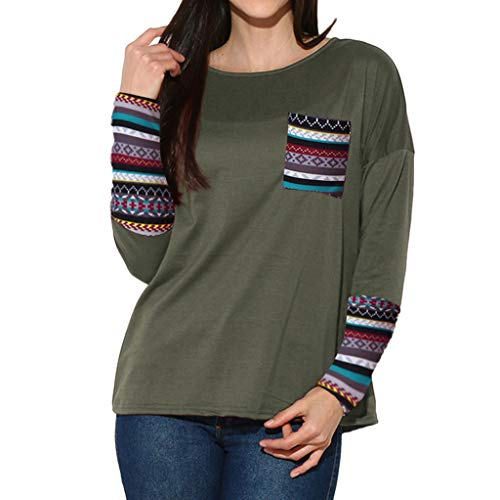 Byyong Women's Patchwork Casual Long Sleeve Loose T-shirts Blouse Tops With Thumb Holes