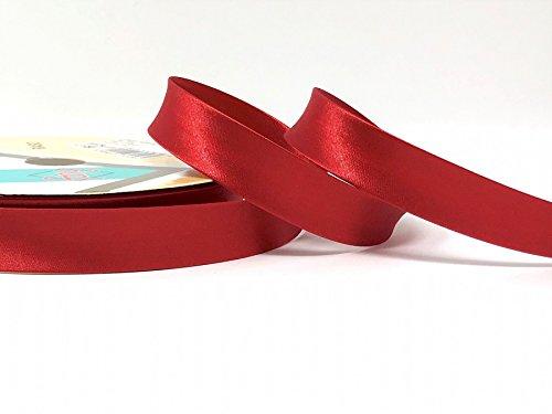 Dark Red Byetsa Satin Fold 18mm Bias Tape on a 25m Roll ()