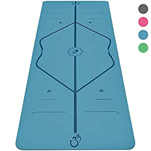 Liforme Yoga Mat - The World's Best Eco-Friendly, Non Slip Yoga Mat With Original Unique Alignment Marker System. Natural Rubber& A Warrior-like Grip (Available in Grey, Pink, Blue, Green) (Blue)